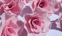 12 edible ROSES 5cm cake decorations CUPCAKE TOPPER wedding BIRTHDAY christening