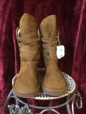 NWT Op Chestnut Brown Faux Suede Women's Flat Boots - Size 8