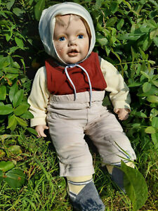 Gebrauchte Porzellanpuppe, Baby, lebensecht, ca. 60 cm