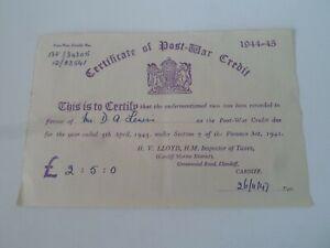 Certificate of Post War Credit 1944-45 Mr D A Lewis Dated 26/11/47.       §DJ155