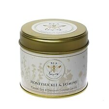 Bea Loves Scented Soy Wax & Pure Beeswax 250g Candle Tin: Honeysuckle & Jasmine