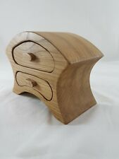 Wooden Bandsaw jewellery box. Hand made from solid oak. (Mantle clock)