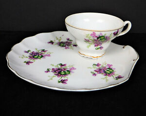 Vintage Seashell Shape Bone China Luncheon Plate w/Cup/Violets Motif/Collectible