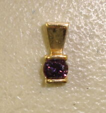 14K Yellow Gold & Round-Cut Purple Spinel Ladies Necklace Pendant
