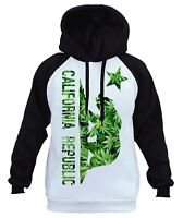 Men's California Weed Leaf Bear Flag White Raglan Hoodie Cali Republic CA B402