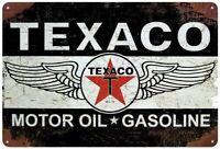 Texaco Motor Oil Gas Oil Garage Auto Shop Rustic Metal Decor Tin Sign 12 x 8