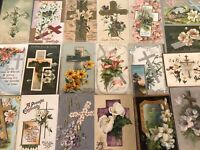 "LOT of 20 BEAUTIFUL Vintage~"" EASTER CROSSES"" with Flowers CROSS POSTCARDS-p971"