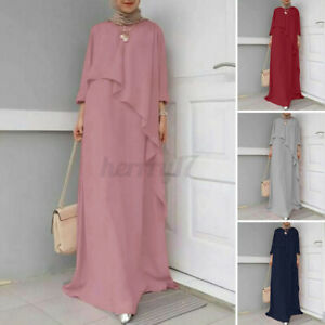 ZANZEA Womens Muslim Long Sleeve Elegant Prom Gown Abaya Kaftan Maxi Dress Plus