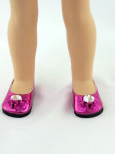 "Hot Pink Rhinestone Bow Dress Shoes Fits Wellie Wishers 14.5"" American Girl"