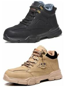 Safety Shoes Mens Fur-Lined Comfort Work Boots Steel Toe Cap Hiking Sneakers