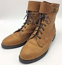 Eddie Bauer Shoe Boots Buckle Strap Brown Leather Steampunk Womens 7.5 Lace Up
