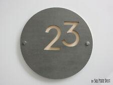 Modern House Numbers,Concrete &Beige Acrylic-  Sign Plaque - Door Number Round