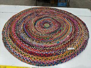 Round Cotton Hand Woven Rug 120cm
