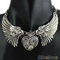 Hot Crystal Rhinestone Turquoise Angel Wings Collar Chain Women Dresses Necklace