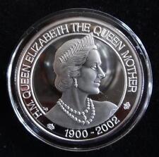 2002 1OZ Fina Plata Prueba TURK Y CAICOS ISL 20 CROWN moneda + certificado De Autenticidad QUEEN MOTHER
