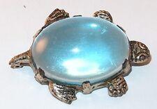 SILVERTONE SMALL BLUE LUCITE PRETTY VINTAGE FIGURAL TURTLE BROOCH PIN