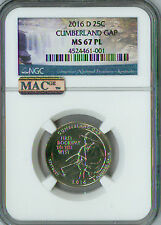2016-D CUMBERLAND GAP QUARTER NGC MAC MS 67 PL PQ 2ND FINEST GRADE SPOTLESS .