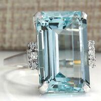 Elegant 925 Silver Wedding Rings for Women Emerald Cut Aquamarine Ring Size 6-10