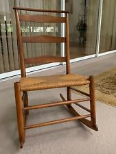 Shaker Ladder Back Rocker Chair with Rush Seat,  Circa 1850
