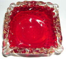 Vintage Ruby Art Glass - Square Pin Dish - Hand Blown - Bubble pattern in Glass.