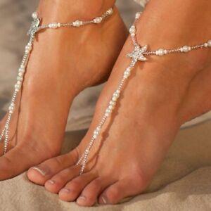FUßKETTCHEN mit ZEHENRING Seestern Damen Fusskette  Perlen-Optik Blogger Kette