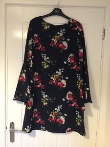 Next Ladies Floral Navy Lined Dress, Size 10, Flare Sleeves