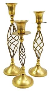 Vintage Solid Brass Twisted Candlesticks Set of 3 Candle Holders Made In India