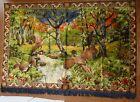 "RARE Vintage Velvet Woven Tapestry Pheasants Woods Scenery Wall Hanging 52X74"""