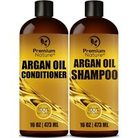Argan Oil Shampoo and Conditioner Set 16oz Sulfate Free All Natural Hair Repair