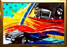 MG A UNIKAT Acryl-Gemälde-Foto-Collage 100 x 70 cm,  Auto-Zyklus Max Stern *1968