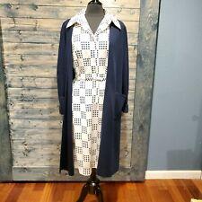 70s Vintage Adele Simpson Dot Mod Blue Dress Jacket Medium