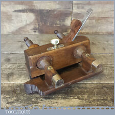 Antique Beech Wood Brass Screw Threaded Plough Plane In Good Condition