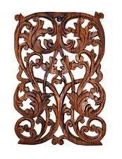 MYANMAR/BURMESE TEAK WOOD WALL HANGING PANAL, Leaves/Vines/Floral Sculpture