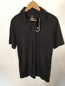 Adidas Mens Medium Size Grey Climalite Soft Polo Shirt With Logo New