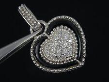 """JUDITH RIPKA  STERLING  DIAMONIQUE & ONYX HEART PENDANT ENHANCER ~ 1.5"""""""