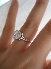 2.09 Ct Round Bezel Set GENUINE Diamond  Engagment Ring VS2- F 14K & Platinum
