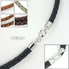 .925 Sterling Silver 5mm Round Braided Genuine Leather Cord Necklace / Bracelet