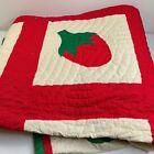 vintage quilt handmade full 74x106 strawberries red hand sewn retro