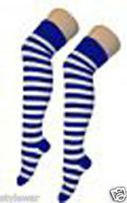Ladies Stripe Stripy Striped Over The Knee Thigh High Long Socks 32 Colours 4-6