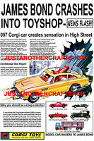 Corgi Toys James Bond Aston Martin DB5 261 Poster Leaflet Advert Sign A4 size