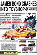 CORGI TOYS 261 James Bond Aston Martin db5 1966 Poster Volantino Pubblicità Segno