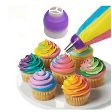 1set Tri-Color Coupler Icing Pastry Converter Tip Nozzles Colorful Cake Decorate