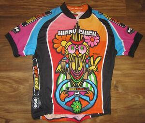 Happy Chick Womens Short-Sleeve 3/4-Zip Cycling Jersey, Wolrd Jersey Size L, EUC