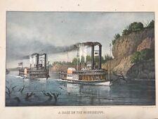 Race On The Mississippi Steam Boat Eagle Vintage Print Home Decor Art Boho Retro