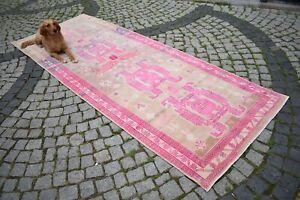 Pink Runner Rug 47'' x 122'' Caucasian Kilim Hand Knotted Terrific Hallway Rug