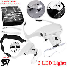 Headband Magnifier Magnifying Glass Loupe Hands Free Head Lamp With 2 LED Lights
