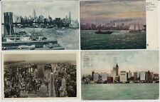 Lot of 4 Old Postcards - Different Views of The New York City Sky Line