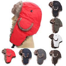 Mens Winter Warm Russian Ushanka Trapper Ski Hat Faux Fur Ear Flaps Waterproof