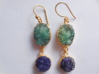 Druzy Earring-Gold Edge Druzy-Green Blue Earring-Natural Druzy-Fashion Jewelry