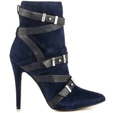 $149 Guess Parley Pointed Toe Booties Blue Multi Suede Buckles Details Size 6.5